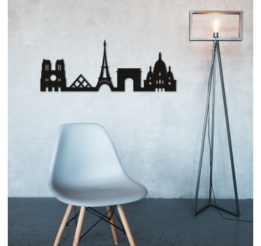Skyline wall deco of the city of Paris for a contemporary and modern interior