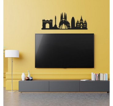Skyline metal wall decoration of the city of Barcelona for a modern living room