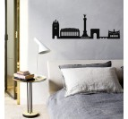 Skyline design metal wall decoration of the city of Bordeaux in a contemporary bedroom