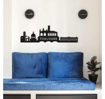 Skyline design metal wall decoration of the city of Toulouse in a modern interior decor