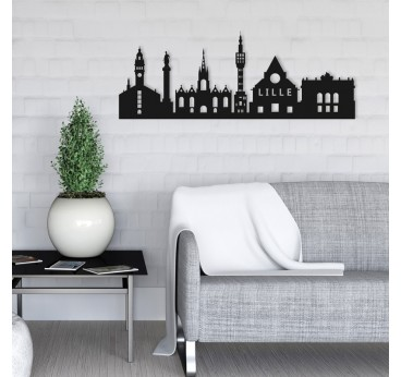 Lille wall decoration skyline in metal for an unique interior
