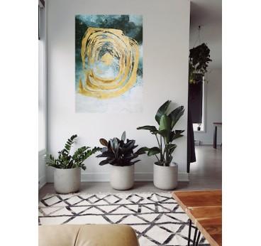 Tableau peinture sur toile abstrait dans une déco murale de salon tendance