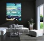 Tableau peinture abstraite bleue dans une décoration murale de salon