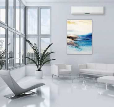 Blue abstract oil painting on canvas in a modern living room decoration