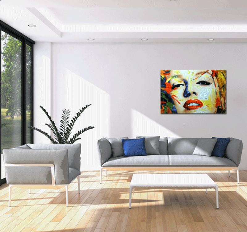 tableau peinture marilyn monroe design color. Black Bedroom Furniture Sets. Home Design Ideas