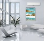 Abstract gold and blue modern oil painting in a living room wall decoration