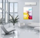 Abstract wall painting art with yellow and red colors for design interior