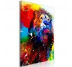 Tableau déco de lion multicolore pour un intérieur tendance