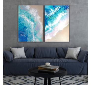 Tableau peinture design de l'océan, entièrement réalisé à la main et au pinceau pour une déco murale moderne