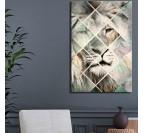 Tableau de lion avec des formes géométriques pour une décoration murale scandinave