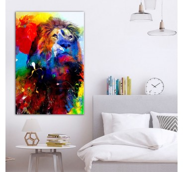 Multicolored lion print canvas in trendy bedroom wall decoration