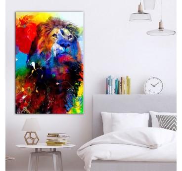 Tableau imprimé de lion multicolore dans une décoration murale de chambre tendance