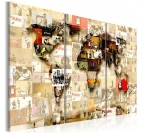 Banksy world map canvas to create a design wall decoration