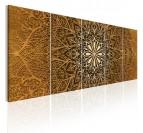 Tableau design de mandala doré en 5 panneaux pour une décoration murale moderne