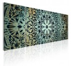 Tableau moderne de mandala vert en 5 panneaux avec des motifs colorés pour votre décoration