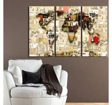 World map wall art with all the works of Banksy in a modern living room wall decoration