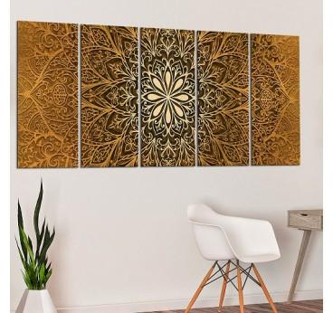 Tableau imprimé d'un mandala couleur or pour créer une déco murale tendance