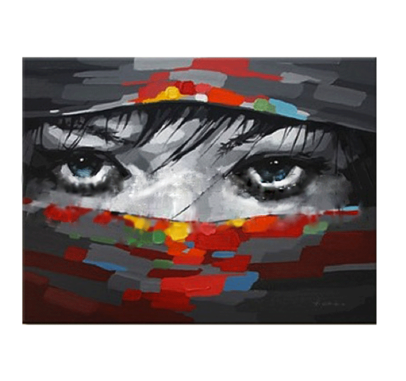 Beautiful eyes abstract painting artwall and co - Peinture effet tableau ...
