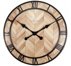 Wood and metal wall clock with large hands to create a trendy interior