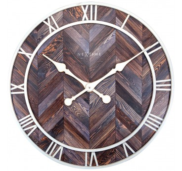 Dark wood wall clock with white metal for a trendy wall decoration