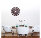 Modern wall clock in wood and white metal in a living room wall decoration