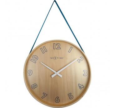 Modern pendulum style wall clock made entirely of wood