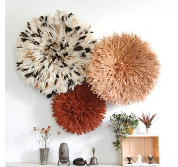 Composition of juju hat with three colors to choose from to create an ethnic and African wall decoration