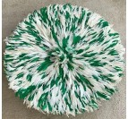 Green and white juju hat with authentic feathers to create an ethnic and boho wall decoration