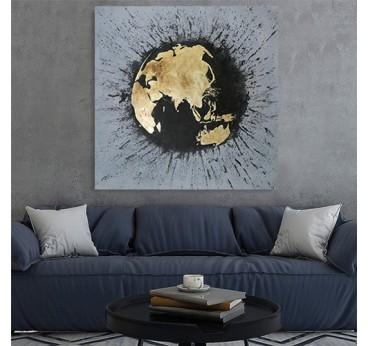 Tableau peinture design sur toile du planisphère dans un décoration murale de salon