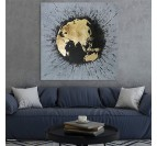 Design painting on canvas of the planisphere in a living room wall decoration