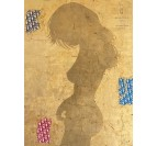 Tableau moderne d'une femme sur de l'or avec des inscriptions de Dior par notre artiste Gab en déco murale