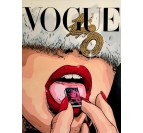 Modern wall art of the brand Vogue with a fashion woman is a drug from Vogue magazine by our artist Gab