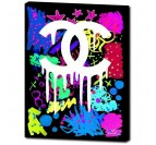 Chanel street art canvas with blue, pink and yellow graffiti for your interior