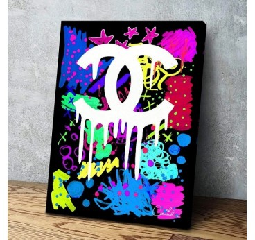 Street art painting with tags and graffiti on the Chanel brand for a contemporary wall decoration
