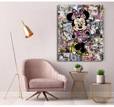 Minnie street art canvas in a living room wall decoration for girls