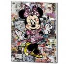 Tableau street art du personnage Minnie avec des effets de collages pour votre décoration murale