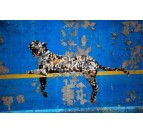 Banksy wall decoration with the famous leopard in blue
