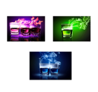 Threesome Glasses Fire Tableau Contemporain