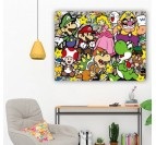 Tableau street art de l'univers de Mario avec tous ses personnages en décoration murale