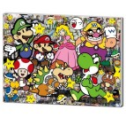 Street art wall frame with Mario and all the characters from the video game