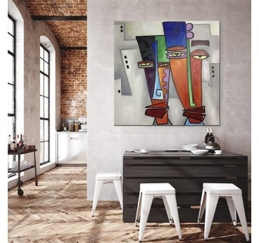 Tableau peinture pop art réalisé à la main par notre artiste dans une déco murale de loft