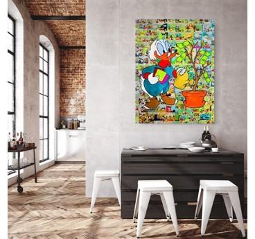 Tableau street art de picsou dans une décoration murale de loft tendance