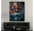Tableau lion moderne avec un portrait unique pour créer une décoration murale de salon tendance