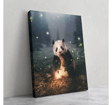 Panda animal print canvas in a magical decor for your wall decoration