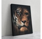 Animal canvas wall art with a portrait of lion and tiger for a wild wall decoration