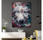 Wolf wall canvas art with flowers for a trendy style in your interior decoration