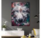 Tableau de loup avec des fleurs pour un style tendance dans votre déco d'intérieur