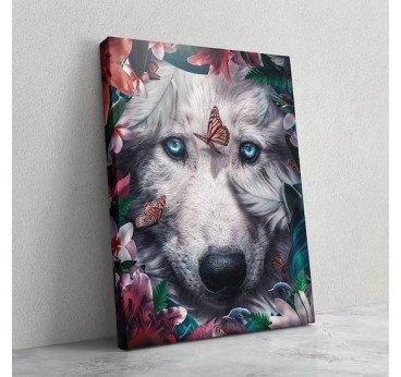 Wolf print canvas with flowers for a design portrait of our artist in wall decoration