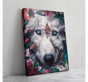 Tableau imprimé de loup avec des fleurs pour un portrait design de notre artiste en décoration murale