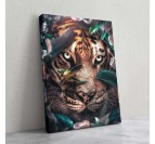 Deco wall art canvas of tiger with flowers by our artist Artwall and Co